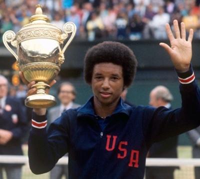 The great Arthur Ashe wins at Wimbledon