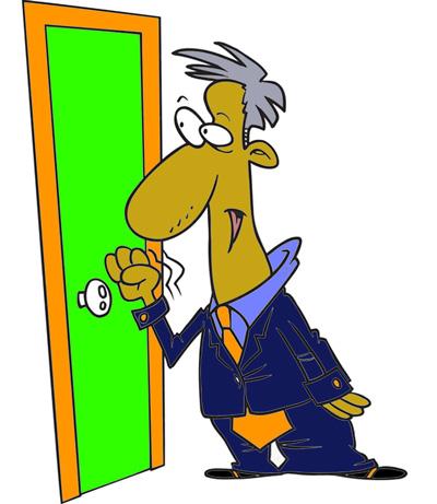 Old Man Knocking at Door