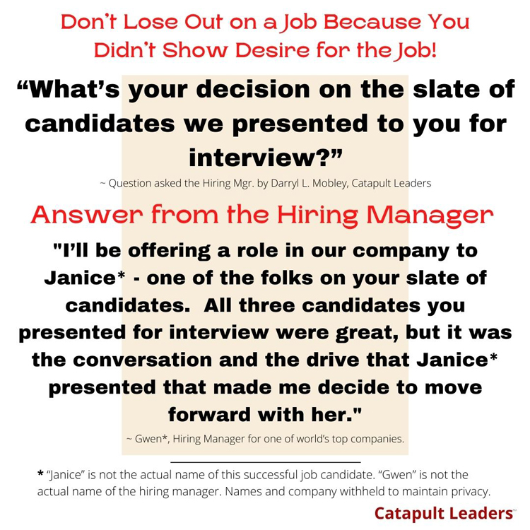Show Desire for the Job - Catapult Leaders