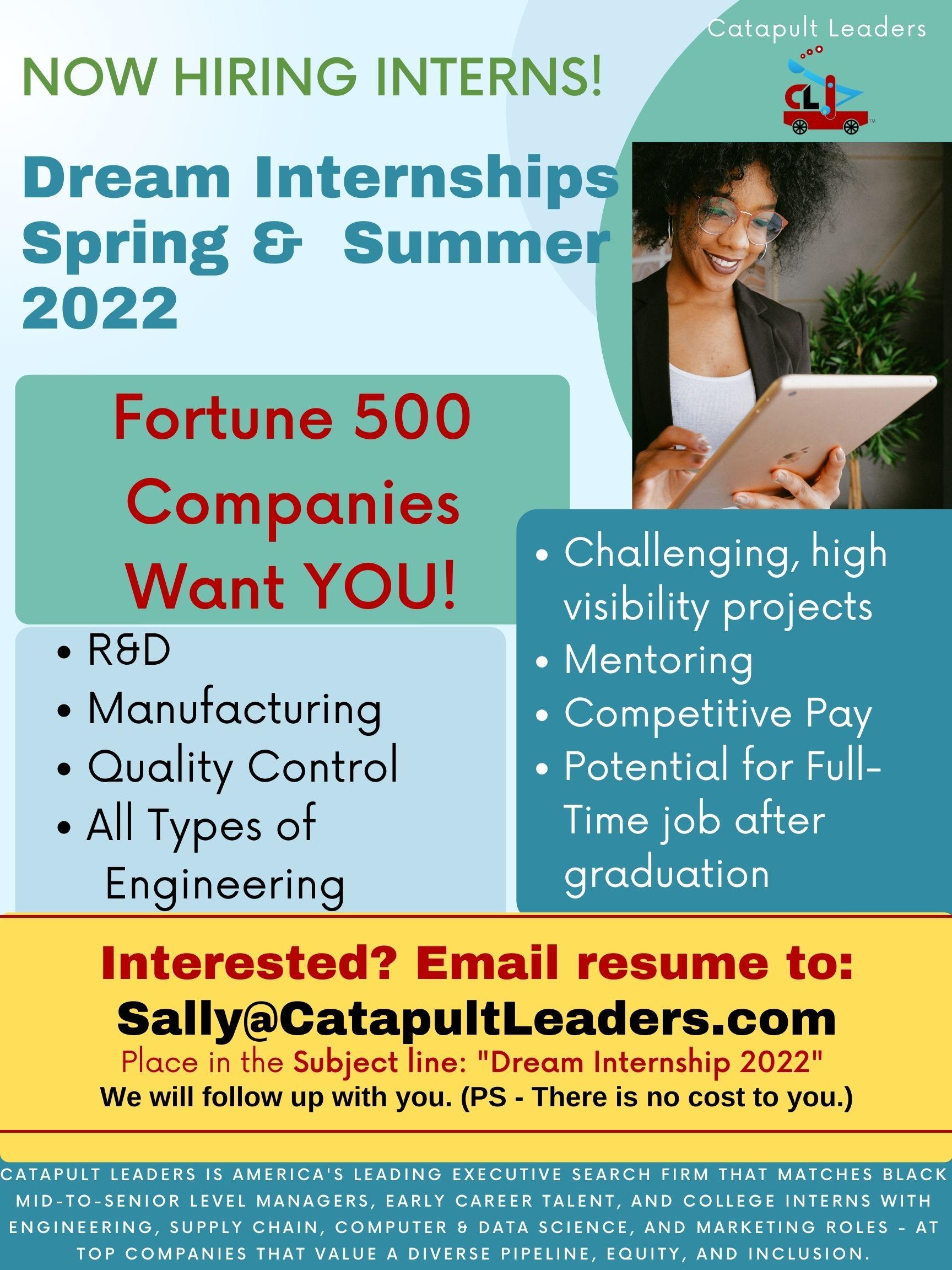 Internships - Summer Spring 2022